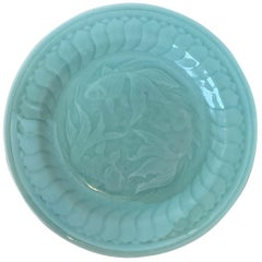 Early 20th Century Chinese Celadon Pottery Koi Fish Plate 4 Character Reign Mark
