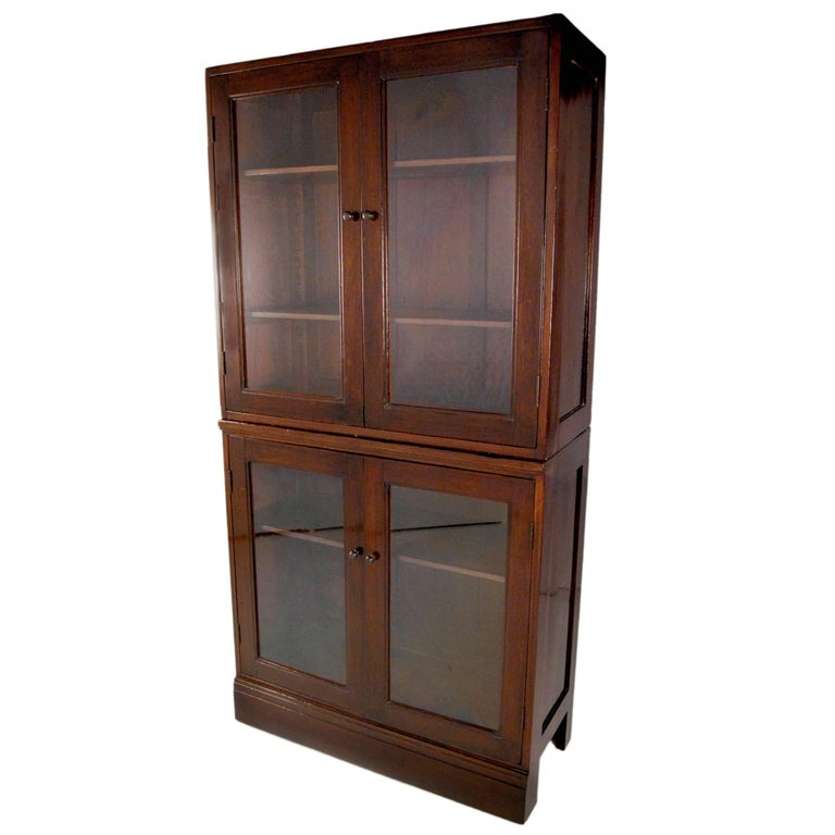 Qing Early 20th Century Chinese Colonial Glass Cabinet For Sale
