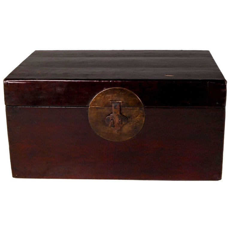 Early 20th Century Chinese Cordovan Lacquered Hide Trunk