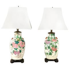 Early 20th century Chinese Deco Chrysanthemum Porcelain Lamp, Hollywood Regency