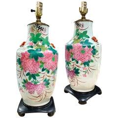 Chinese Deco Chrysanthemum Porcelain Lamp, Hollywood Regency, Early 20th Century