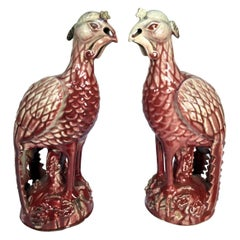 Early 20th Century Chinese Export Pair of Ceramic Ho Ho Birds