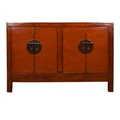 Early 20th Century Chinese Four-Door Red Lacquer Chest