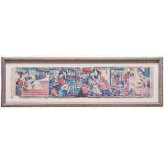 Early 20th Century Chinese Framed Block Print Erotic Pillow Book