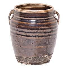 Early 20th Century Chinese Glazed Kitchen Jar