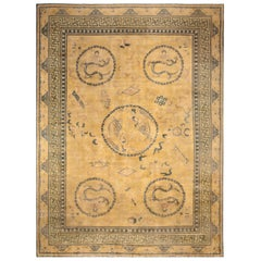 Early 20th Century Chinese Yellow Beige Blue Handwoven Wool Carpet