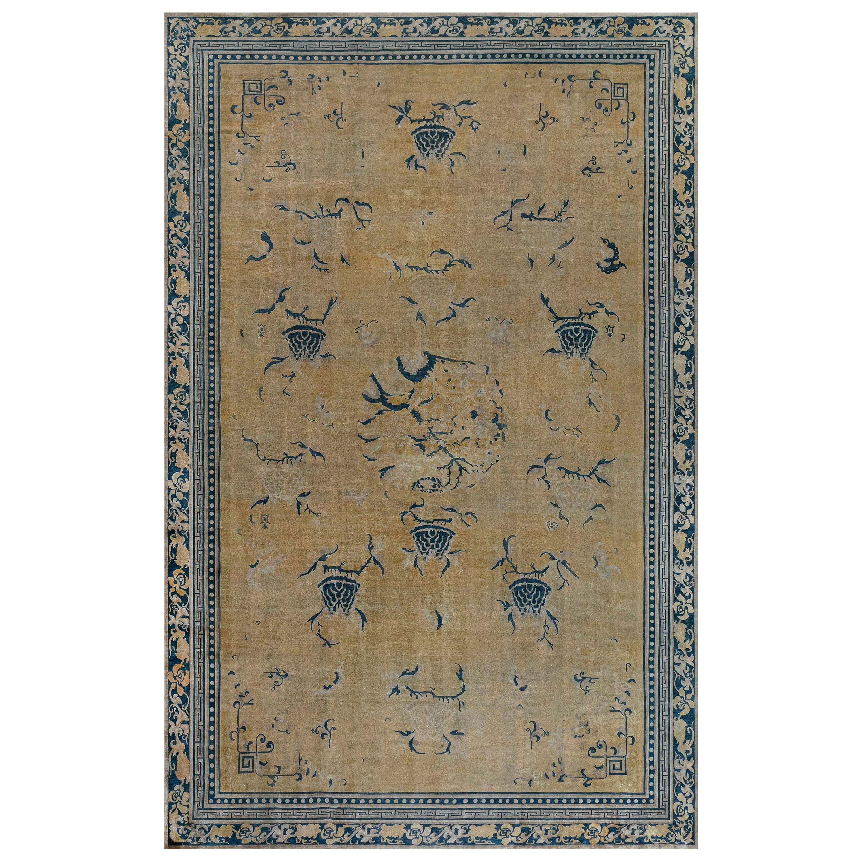 Early 20th Century Chinese Golden Yellow and Navy Blue Handmade Wool Rug