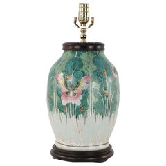 Early 20th Century Chinese Green Botanical Table Lamp on Wooden Base