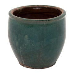 Early 20th Century Chinese Green Glazed Pickling Pot