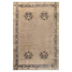 Early 20th Century Chinese Handmade Wool Rug in Camel and Brown