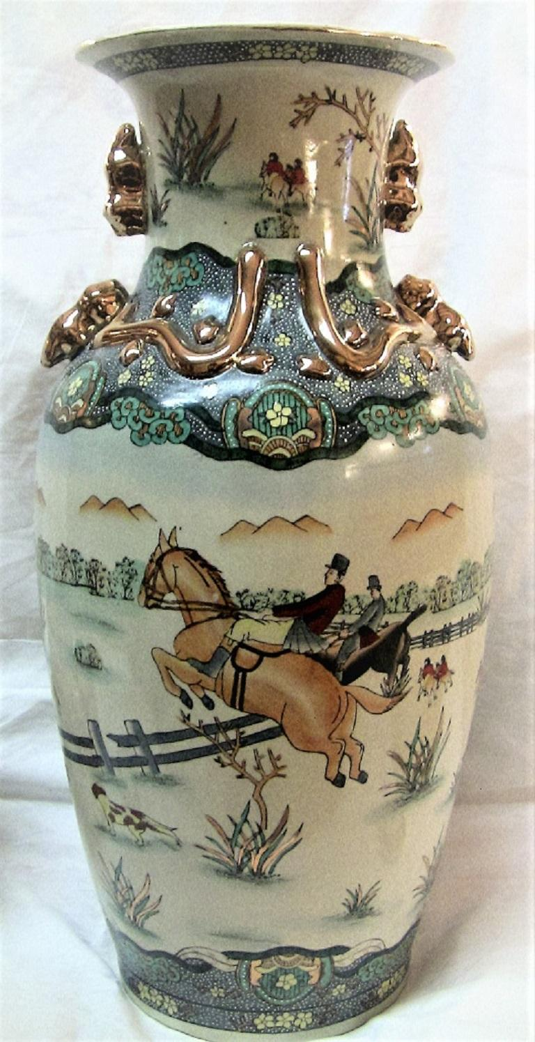 Early 20th Century Chinese Hunt Scene Floor Vase and Lidded Urns For Sale 5