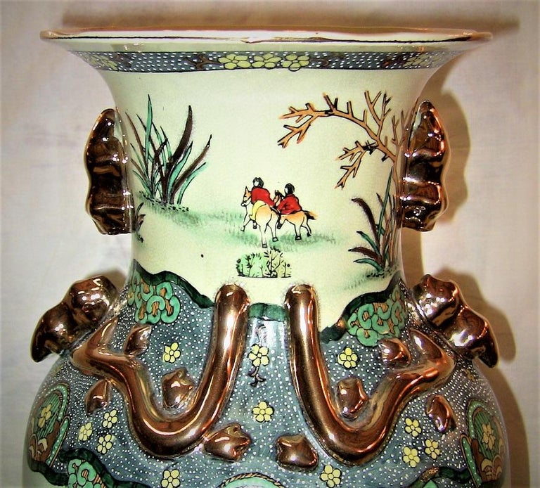 Early 20th Century Chinese Hunt Scene Floor Vase and Lidded Urns For Sale 11