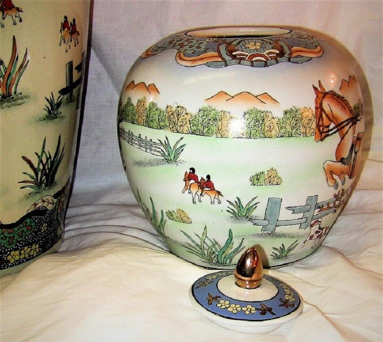 Chinese Export Early 20th Century Chinese Hunt Scene Floor Vase and Lidded Urns For Sale