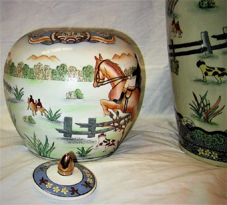 Hand-Crafted Early 20th Century Chinese Hunt Scene Floor Vase and Lidded Urns For Sale