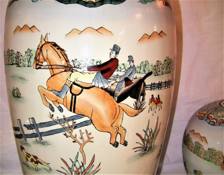 Early 20th Century Chinese Hunt Scene Floor Vase and Lidded Urns In Excellent Condition For Sale In Dallas, TX