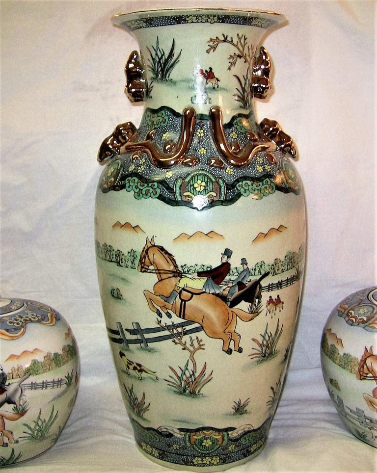 Ceramic Early 20th Century Chinese Hunt Scene Floor Vase and Lidded Urns For Sale