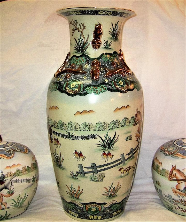 Early 20th Century Chinese Hunt Scene Floor Vase and Lidded Urns For Sale 1