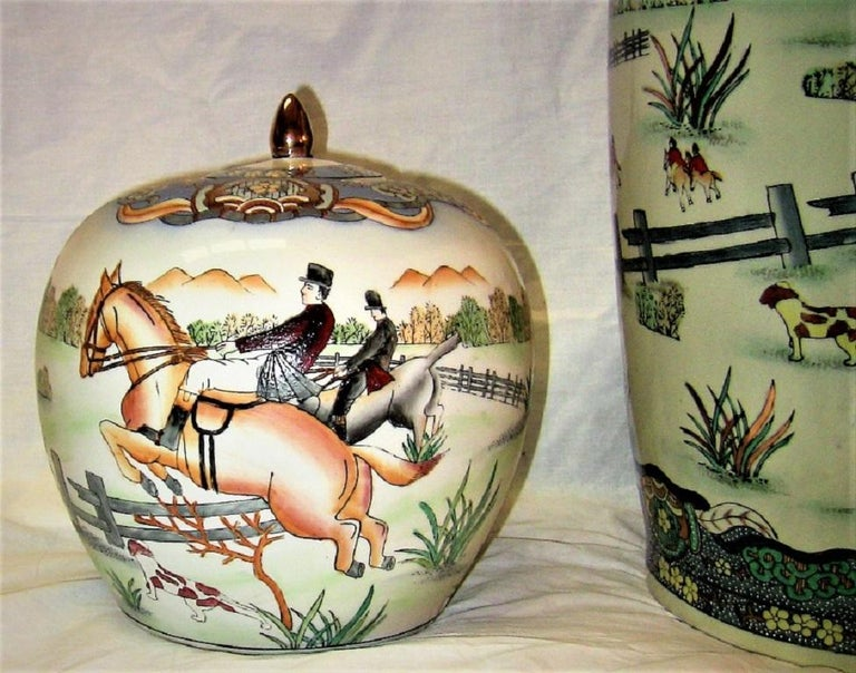 Early 20th Century Chinese Hunt Scene Floor Vase and Lidded Urns For Sale 2