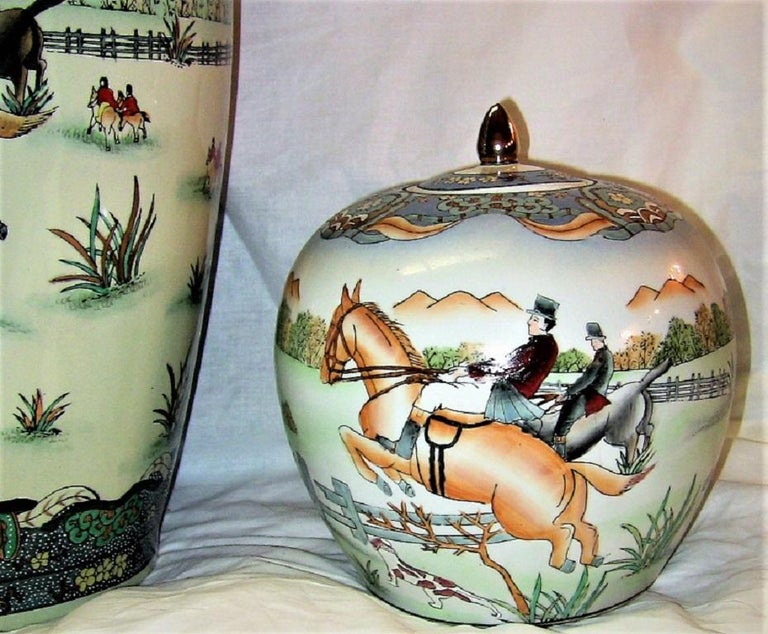 Early 20th Century Chinese Hunt Scene Floor Vase and Lidded Urns For Sale 3
