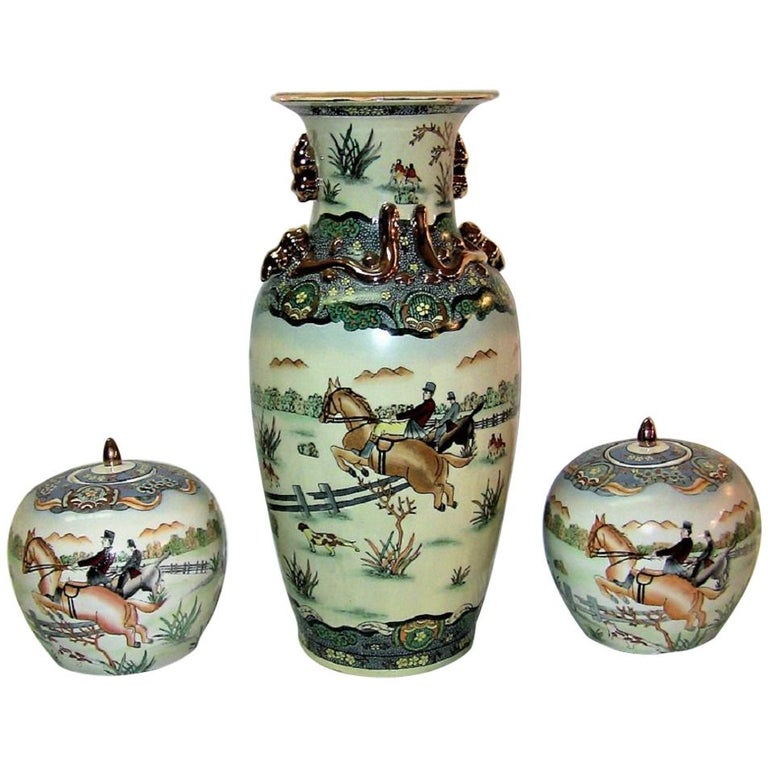 Early 20th Century Chinese Hunt Scene Floor Vase and Lidded Urns For Sale