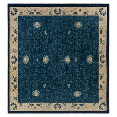Early 20th Century Chinese Indigo Blue and Ivory Handmade Wool Carpet