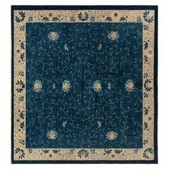 Early 20th Century Chinese Indigo Blue and Ivory Handmade Wool Carpet