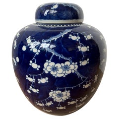 Early 20th Century Chinese Kangxi Style Blue and White Cherry Blossom Ginger Jar