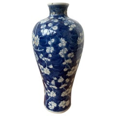 Early 20th Century Chinese Kangxi Style Blue and White Cherry Blossom Vase