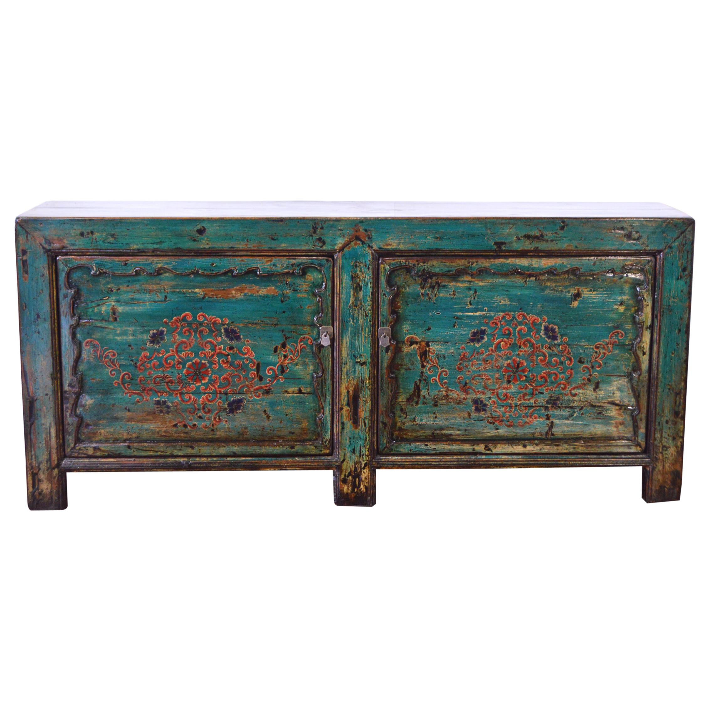 Early-20th Century Chinese Lacquered Elm Buffet Hand Painted
