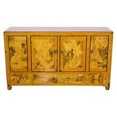 Early-20th Century Chinese Lacquered Elm Buffet Hand-Painted