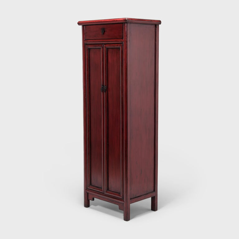 Qing Early 20th Century Chinese Narrow Red Noodle Cabinet For Sale