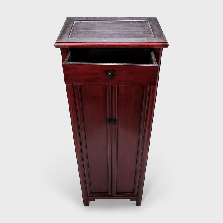 Pine Early 20th Century Chinese Narrow Red Noodle Cabinet For Sale