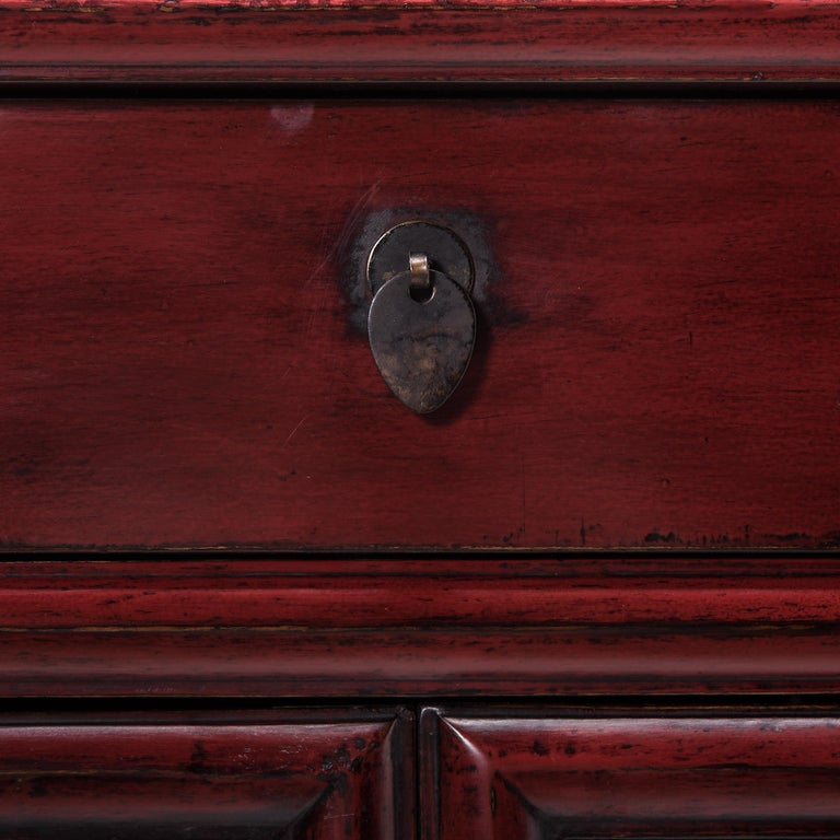 Early 20th Century Chinese Narrow Red Noodle Cabinet For Sale 1