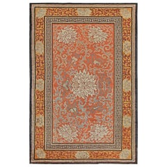 Early 20th Century Chinese Orange, Ivory and Gray Handmade Silk Rug