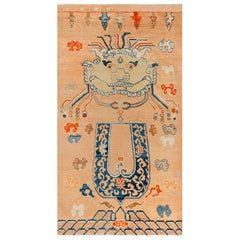 Early 20th Century Chinese Oriental Beige, Blue, Brown and Orange Handmade Rug