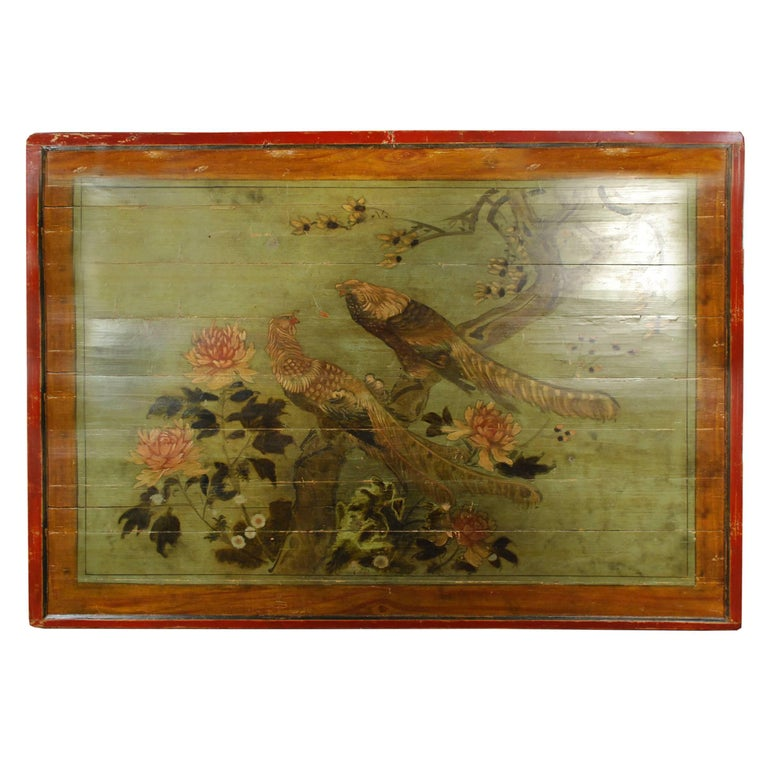 Early 20th Century Chinese Peony and Phoenix Painted Bed Canopy