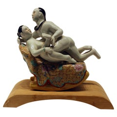 Early 20th Century Chinese Porcelain Erotic Figural Scene Hand Painted