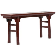 Early 20th Century Chinese Red Lacquer Gate Bench