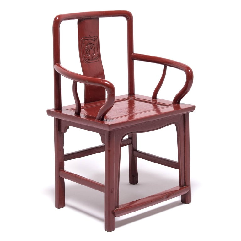 Early 20th Century Chinese Red Lacquer Official's Chair In Good Condition For Sale In Chicago, IL