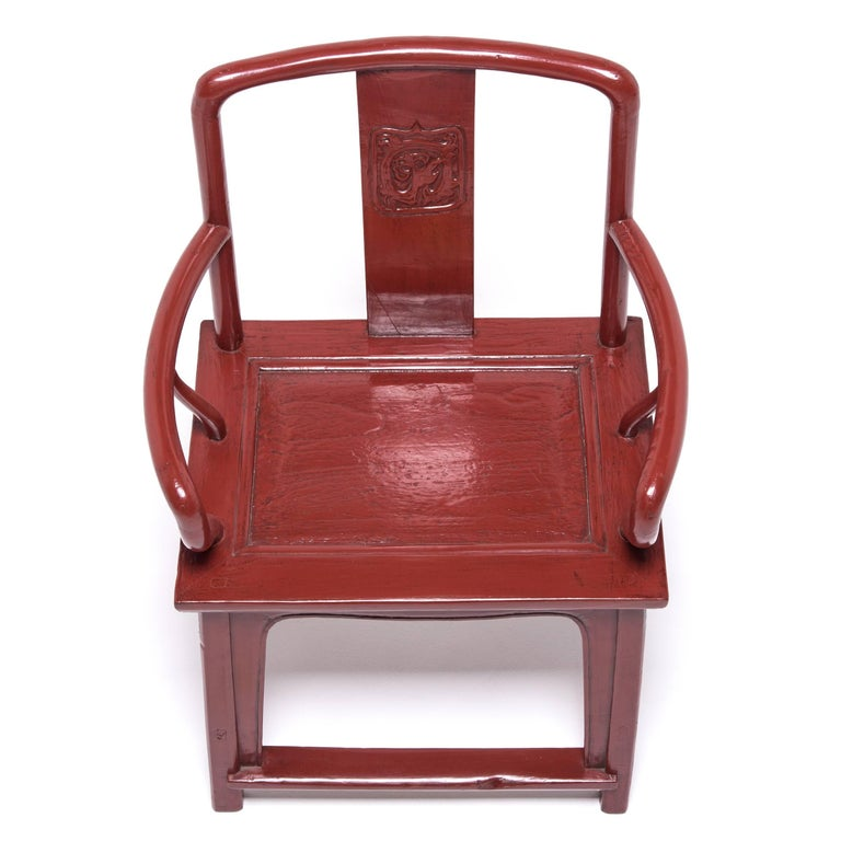 Elm Early 20th Century Chinese Red Lacquer Official's Chair For Sale