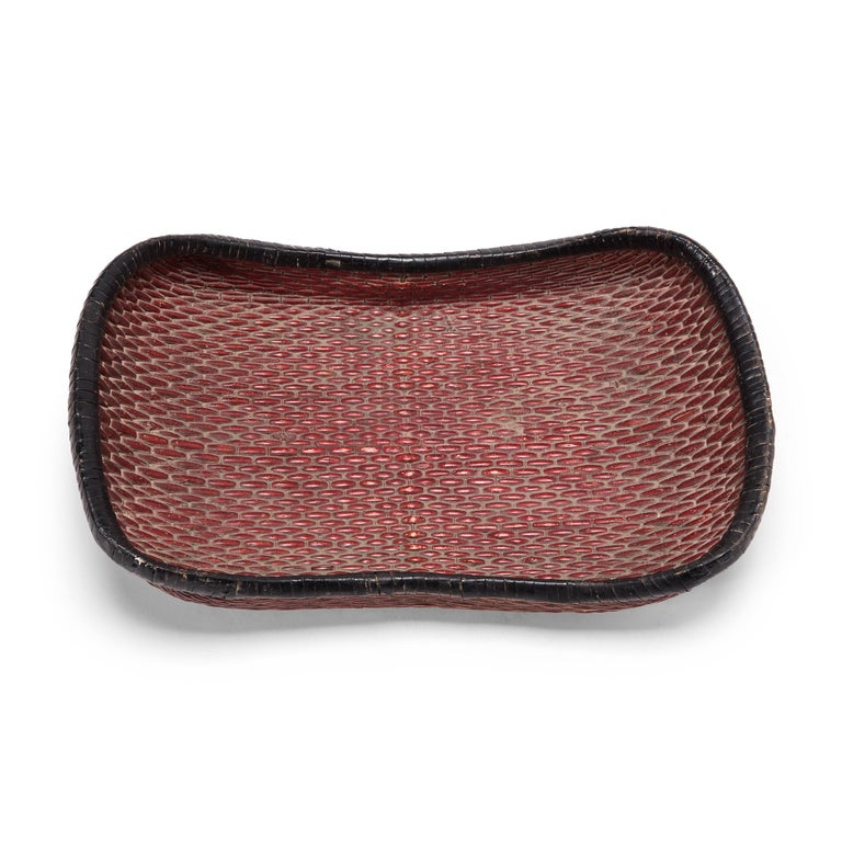 Early 20th Century Chinese Red Mantou Basket In Good Condition For Sale In Chicago, IL