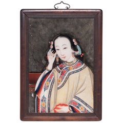 Early 20th Century Chinese Reverse Glass Portrait of a Young Woman