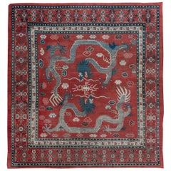 Early 20th Century Chinese Royal Crimson and Blue Handwoven Wool Rug