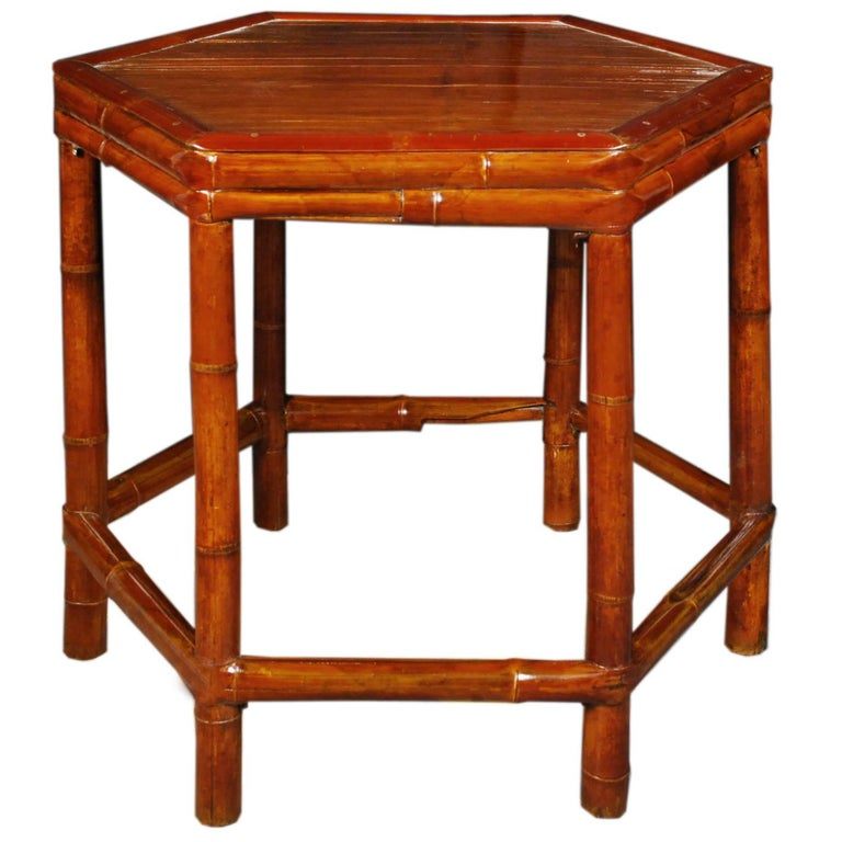Early 20th Century Chinese Six-Sided Bamboo Table