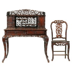 Early 20th Century Chinese Solid Hongmu Hand Carved Desk Set