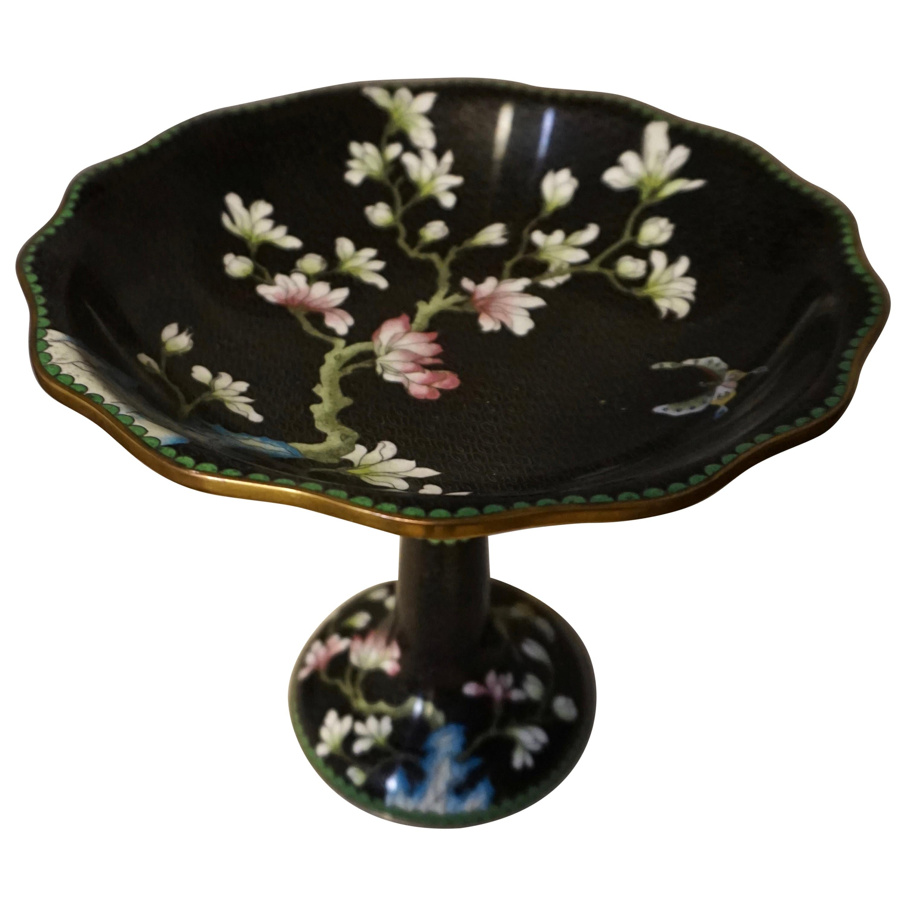 Early 20th Century Chinese Spring Night Decorative Cloisonne Vase on Stand