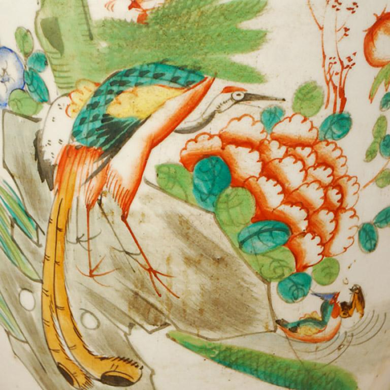 Glazed Early 20th Century Chinese Springtime Phoenix Tail Vase For Sale