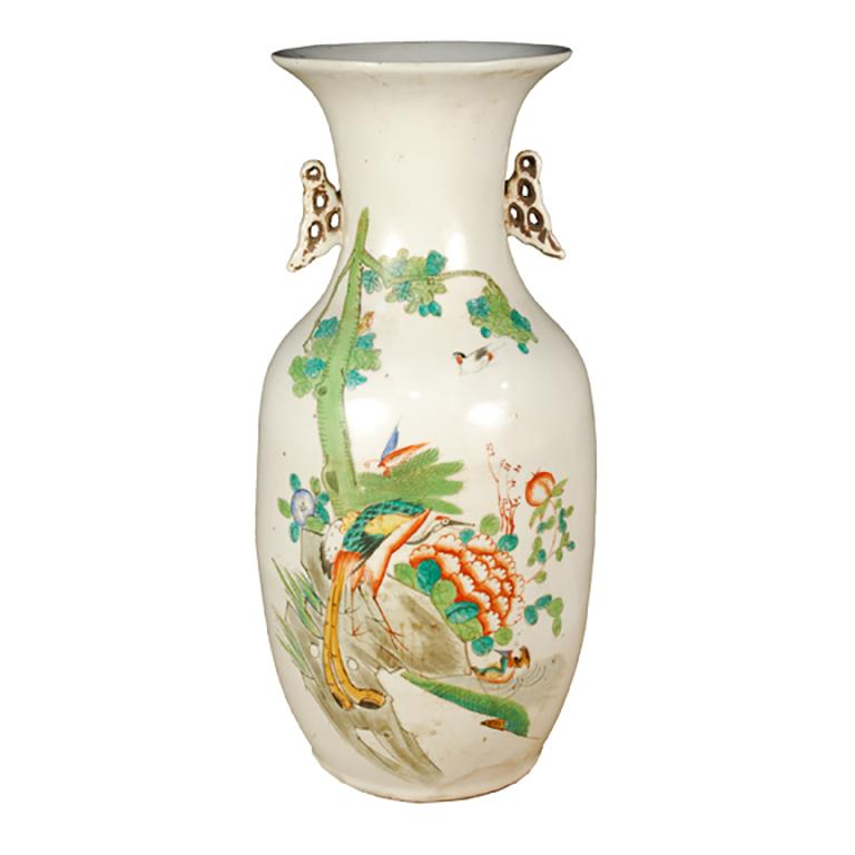 Early 20th Century Chinese Springtime Phoenix Tail Vase For Sale