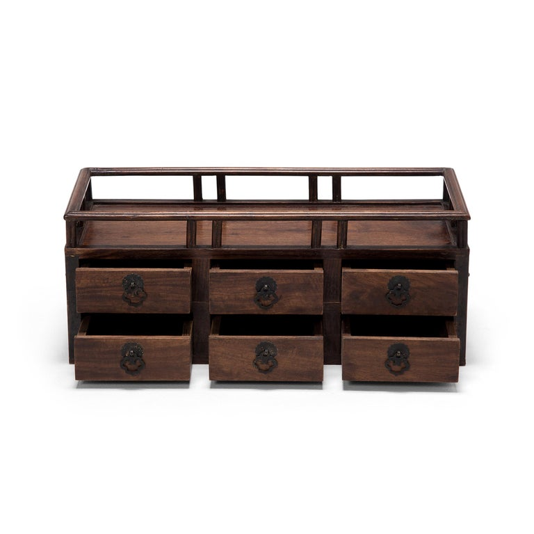 Brass Early 20th Century Chinese Tabletop Scholars' Chest For Sale