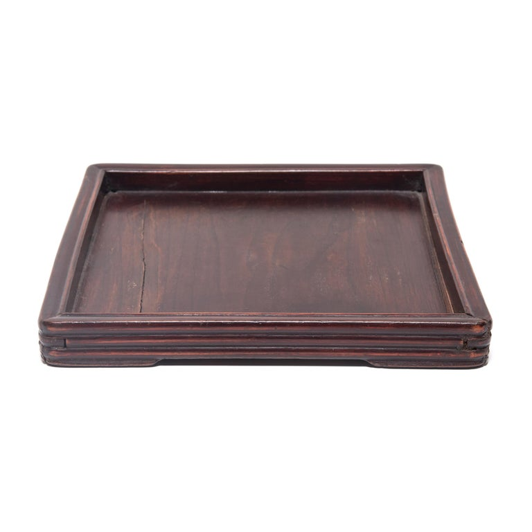 Qing Early 20th Century Chinese Tray with Ridged Edges For Sale